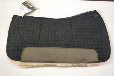 Preisvergleich Produktbild Mattes Westernpad Square Pad komplett Lammfell mit Dreitaschen-Correction-System, Stoff: schwarz (XL)