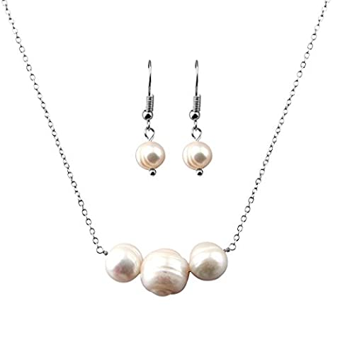 Single Strand Natural Pearl Beads Bar Necklace and Earring Set Bridesmaids Gift (Silver A)
