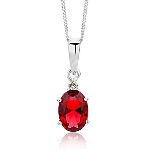 Miore collana donna  rubino  con diamante taglio brillante oro bianco 9 kt / 375 con catena,  catenina cm 45
