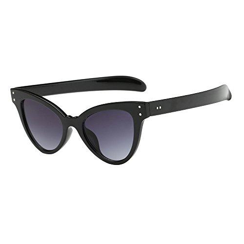 Yumimi88 Neutral Cat Eye Sonnenbrille Retro Heart Frame UV400 Eyewear Fashion Ladies Fashion Mod Chic Super Cat Eye Dreieck Sonnenbrille Frauen Vintage Retro Brillen (Schwarz)