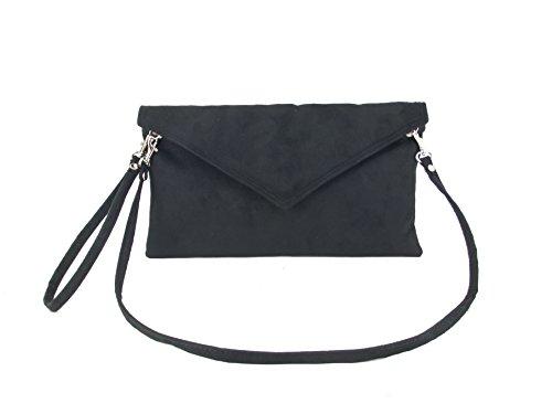 Loni Neat Umschlag Faux Wildleder Clutch Bag/Schultertasche in schwarz Dunkel Blau Marine