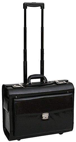 S Babila - Pilotenkoffer mit Rollen - Business-Trolley aus Vollleder - Handgepäcksgröße - Schwarz (Leder Trolley-case)