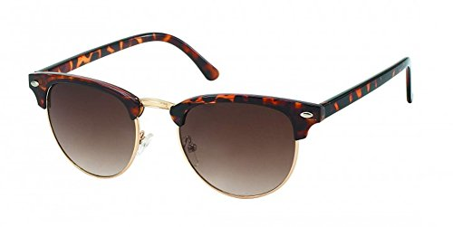 Chic-Net Sonnenbrille rund Vintage John Lennon Stil Nerd Brille 400UV hoher Steg Cat Eye braun