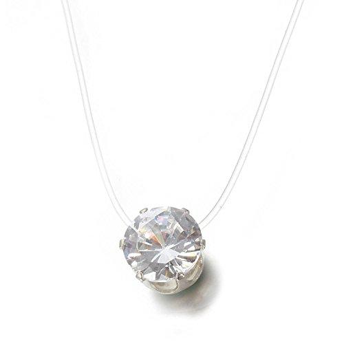 Gfone Damen Strass Halskette Nylonkette Transparent Halskette Collier Kette mit schwebender Stein Kristallglas Gem Anhänger Schmuck Geschenk Brautschmuck