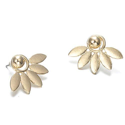Jixing 1Pair Frauen Lotus Blume Ohrstecker Vorne und Hinten Earbob, Zinklegierung, Gold