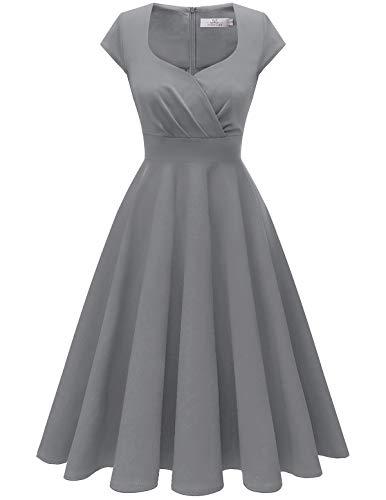 HomRain Damen 50er Retro Vintage Rockabilly Cocktail Party V-Ausschnitt Abendkleid Grey XS