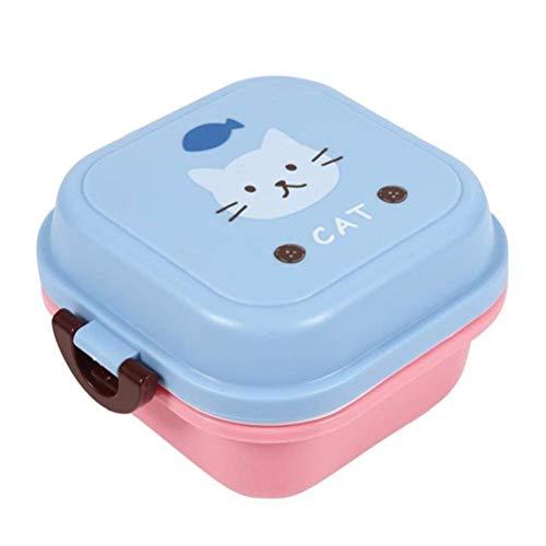 Brotdose für Kinder Junge Mädchen Cartoon 2-Schichten Lunchbox Frühstücksbox Kindergarten Büro Snackbox leicht tragbar Essensbox für Camping Schule Wandern Reise Picknick (Cartoon-Katze Muster)