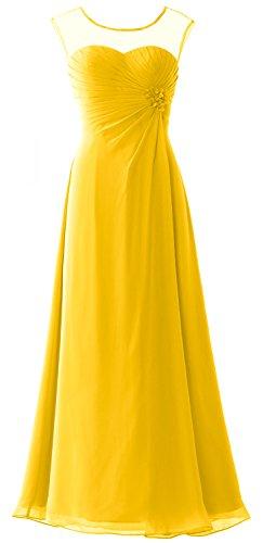 MACloth - Robe - Trapèze - Manches Courtes - Femme Jaune