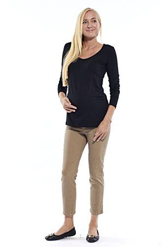 Motherway - T-Shirt à manches longues - Uni - Col V - Femme Schwarz