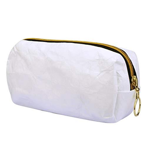Oasics Kosmetiktasche, Kosmetikbeutel Frauen kleine Kosmetik-Tasche Waterproof Paper Travel Portable Storage Bag Washing Bag Cosmetic Bag Organizer (Weiß)