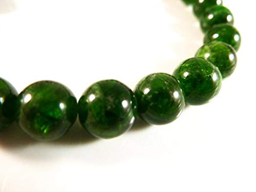 LOVEKUSH Beautiful AAA++ Quality Chrome Diopside Stretch Bracelet 8mm Smooth Round Tumbled Bright Green Bead Gemstones -