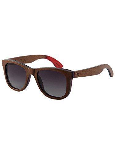 WOLA Damen Herren Sonnenbrille Holz AIR eckige Brille dicke Brücke Skateboard Holz - Ahorn...