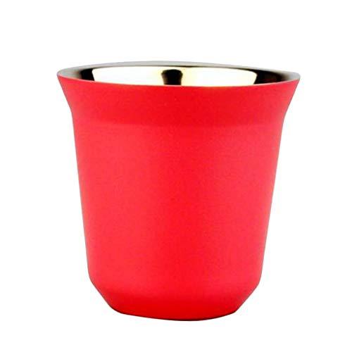 IPOTCH 80 ml Edelstahl-Kaffeetasse-Doppelwandige Trinkbecher Kaffee Tee Becher - Rose Rot Rote Rose Becher