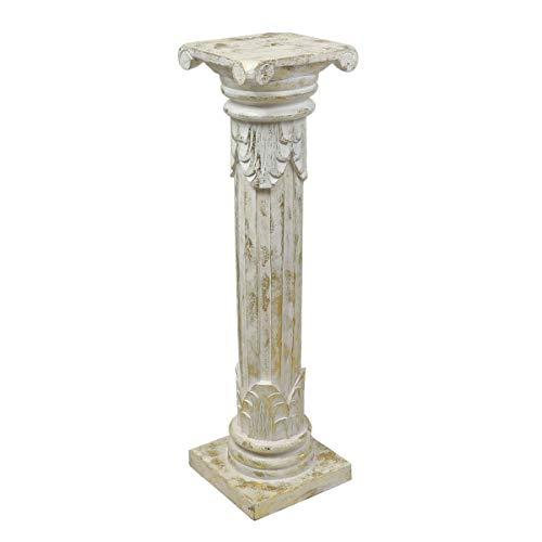 Oriental Galerie Antike Dekosäule Säule Blumensäule Ständer Sockel Podest Holz Weiß Goldwash 80 cm (Weißes Podest, Beistelltisch)