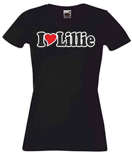 Black Dragon T-Shirt Damen schwarz V-Ausschnitt - Ich Liebe mit Herz (Name) - Fasching - Party - Funshirt - I Love Lillies