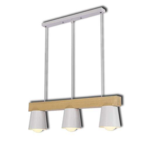 Lámpara Colgante Lámpara De Suspensión Lámpara De Techo Blanco Nórdico Lámpara De Metal Y Madera Deco Lámpara 3 Llamas Altura Ajustable Diseño Moderno Para Mesa De Comedor Sala De Estar E27 Ø70cm