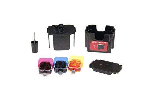 Kit DE Fácil Recarga para Cartuchos de Tinta HP 62, 62 XL Negro y Color, Tinta de Alta Calidad Incluye Clip y Accesorios