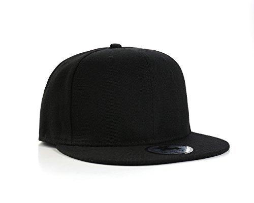 Einfarbig Schwarze Flache Spitze SnapBack Baseball Kappe
