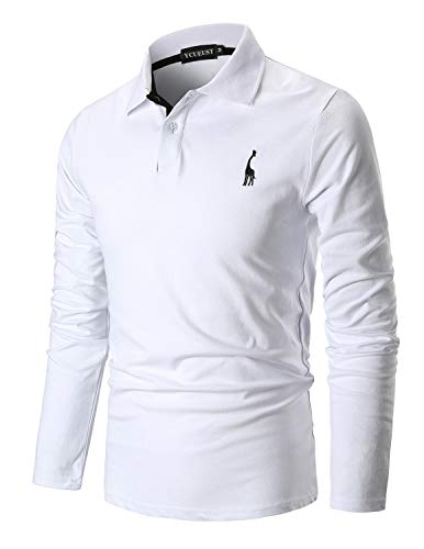 e621ce774d YCUEUST Cotone Polo Uomo Giraffa Ricamo Manica Lunga Tennis Golf T-Shirt  Bianco Small