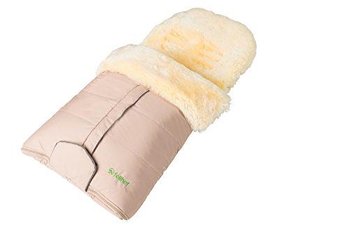 Fellhof 108305 Lammfell Fußsack Cortina, OEKO-TEX® Standard 100 zertifiziert, 45x97 cm, wind- und wasserdicht, waschbar bis 30°C, Öffnung am Fußende (beige)