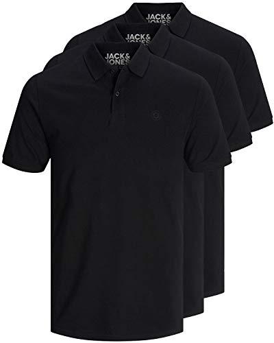 JACK & JONES 3er Pack Herren Poloshirt Slim Fit Kurzarm schwarz weiß blau grau XS S M L XL XXL Einfarbig Gratis Wäschenetz von B46 (3er Pack schwarz, L)