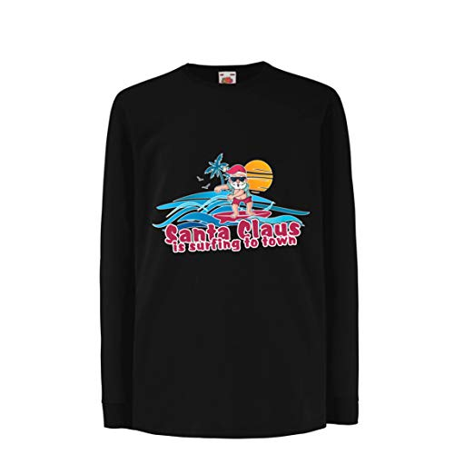 lepni.me Kinder-T-Shirt mit Langen Ärmeln Weihnachtsmann Surft zur Stadt, Weihnachtstanzhemd (3-4 Years Schwarz Mehrfarben)