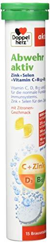 Doppelherz Abwehr aktiv Brausetabletten mit Zitronen-Geschmack – Nahrungsergänzungsmittel mit Zink, Selen sowie den Vitaminen C, B12 & D3 zur Unterstützung des Immunsystems – 3 x 15 Brausetabletten