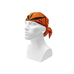 31Xm%2BJd8W9L. SS300  - Fibega Survival Bandana, with print-on survival guide, pure cotton, 60x60cm - orange/black