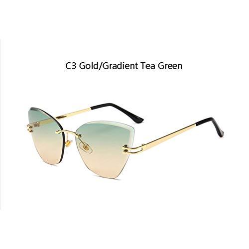 CCGKWW Grüner Tee Katzenauge Sonnenbrille Für Frauen Heiße Trends Italienische Marke Frauen Shades Designer Sonnenbrille Randlose Uv400