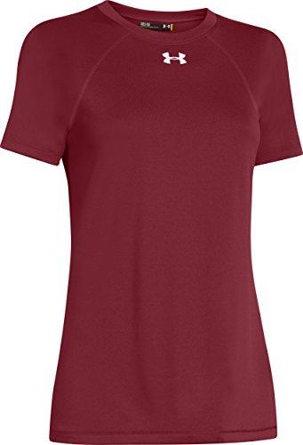 Under Armour Locker Leicht Kurzarm-Shirt der Frau, Damen Unisex – Erwachsene, weiß (Cardinal/White) (Erwachsene T-shirt Cardinal S/s)