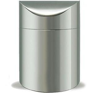 mer - Papierkorb - Tischmülleimer mit Schwingdeckel - Edelstahl - Silber ()