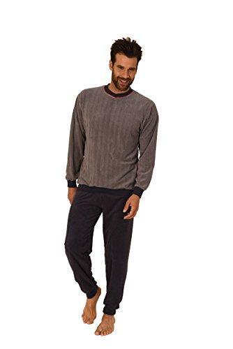 Herren Frottee Pyjama langarm mit Bündchen - auch in Übergrössen bis Gr. 70 - 271 101 93 225, Farbe:grau;Größe:52