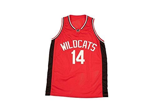 Basketball Trikot Herren Basketball Trikot Zac E Troy Bolton #14 East High School Wildcats Jersey Basketballtrikot für Herren Jungen Männer Fans S-XXXL (Basketball-jersey-high-school)