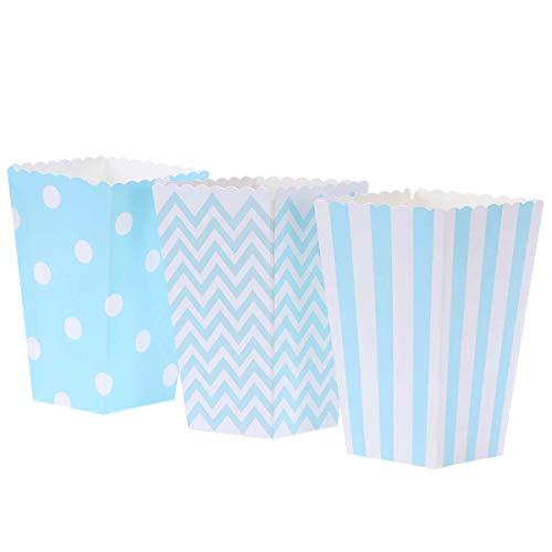 BESTONZON 30 piezas de palomitas de maíz de cartón con patrón de rayas y lunares para fiestas de cumpleaños, baby shower, graduación (azul)