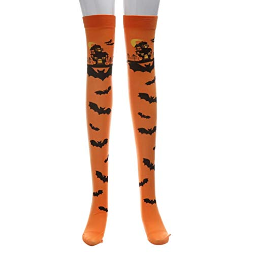 Damen Halloween lange Tube Knie Strümpfe, mamum Halloween Print Lange Tube Knie Socken Fancy Dress Party Funny bis Requisiten Einheitsgröße Orange