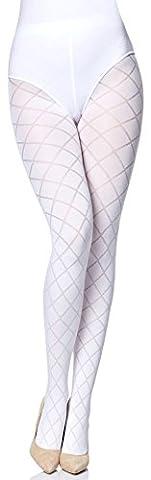 Merry Style Damen blickdichte Strumpfhose MS 328 60 DEN(Weiß, L
