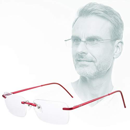 Edison & King Lesebrille Free randlose Brille aus Aluminium mit Federscharnieren - extra leicht (mit Entspiegelung und Etui, Rot, 2,00 dpt)
