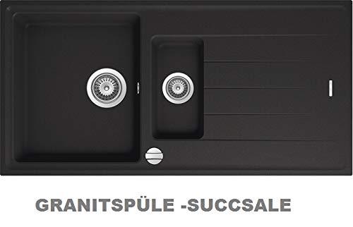 Succsale- Quellmalz-Granitspüle S 1000 schwarz inkl. Drehexcenter Ab- und Überlaufgarnitur reversibel ab 60 er Unterschrank mit Restebecken u. Siebkorbventil
