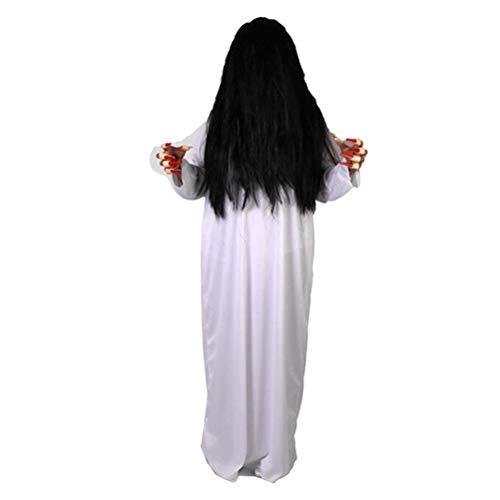 AMOSFUN Halloween Ghost Kostüm Scary Female Ghost Kostüme Anzug Maskerade Party Kostüm Haunted House Prank Requisiten für Frauen Cosplay Party 2 STÜCKE (Scorpion Kostüm Weiß + Braid Black - Scorpion Cosplay Kostüm