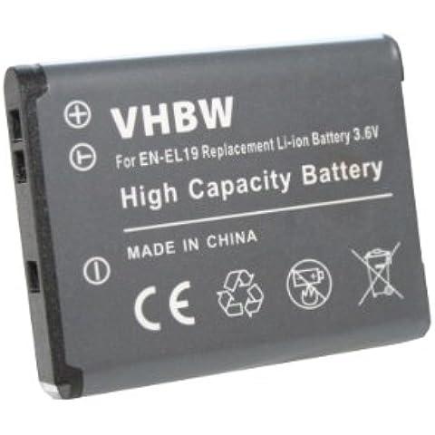 vhbw Li-Ion BATERÍA compatible Nikon CoolPix S2500, S2600, S2700, S3100, S3200, S3500, S4100, S4200, S5200, S6500 sustituye EN-EL19, EN-EL