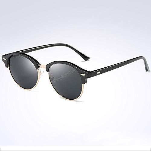 HJBH Sonnenbrille XHM-51 Stern Mit Polarisierten Sonnenbrillen Für Männer Und Frauen Halbbild Kleines Gesicht Retro Farbfilm Sonnenbrille - (2 Farben Optional) (Color : Black)