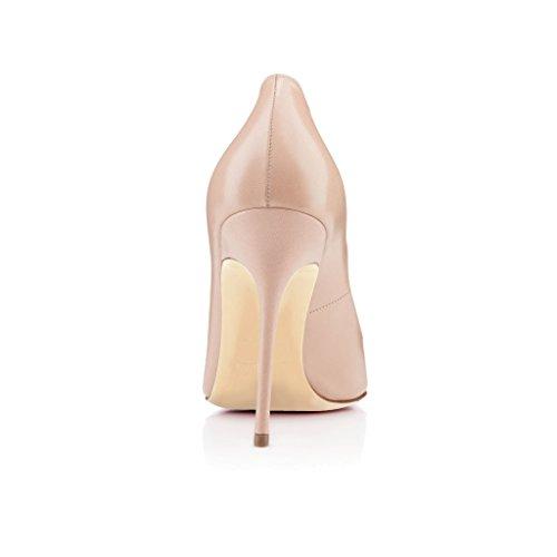 EDEFS Damenschuhe Faschion 10cm Gecollete Office High Heel Basic Pumps Schuhe Nude