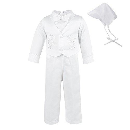 LACOFIA Baby Jungen Weiß Taufkleider 4 Stücke Baby Bestickte Hochzeit Taufanzug mit Langen Ärmeln 0-6 Monate
