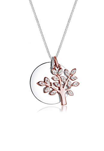 Elli Premium Damen-Kette mit Anhänger Lebensbaum Kreis 925 Silber rhodiniert Swarovski Kristalle weiß Facettenschliff 45 cm 0102310617_45