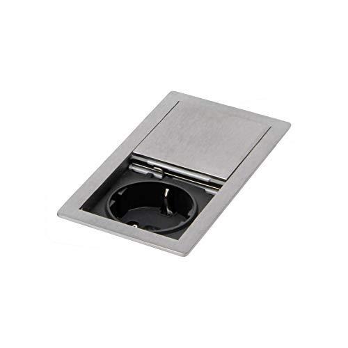 Küchen Einbausteckdose Arbeitsplatte Büro Tisch Deckel Edelstahl Optik *569571