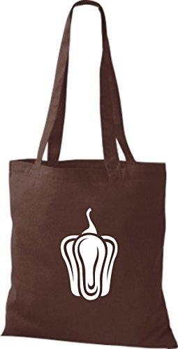 ShirtInStyle Stoffbeutel Baumwolltasche Dein Lieblings Obst und Gemüse Paprika Farbe Pink braun