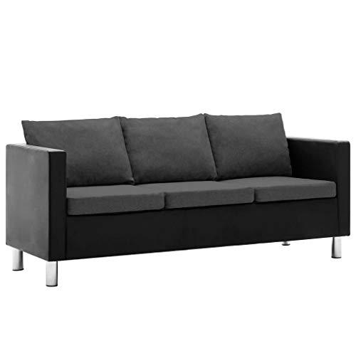 Festnight divano moderno a 2/3 posti in ecopelle nero/bianco con cuscino in tessuto per salotto soggiorno e ufficio