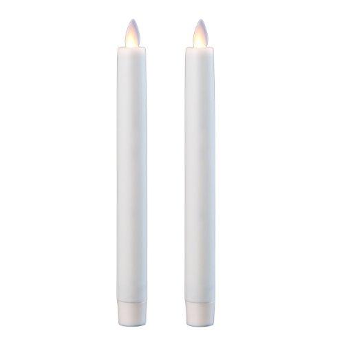 Sompex Vela Flame LED, Vela Eléctrica de Plástico, con Temporizador y Parpadeo, sin Llama, 2,5 x 23 cm, Color Marfil, Pack de 2, 38000
