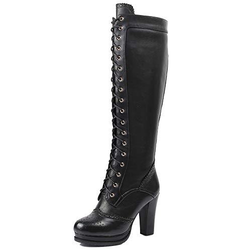 Frauen Echtes Leder Stiefel Kniehohe Schnürstiefel Damen Zip Punk Knight Martin Stiefel,Black-38 Knight Zip