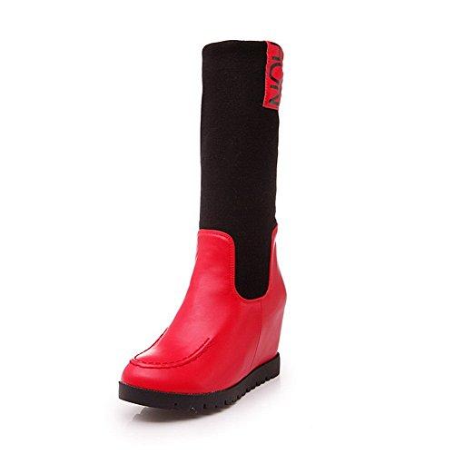AgooLar Damen Mittler Absatz Gemischte Farbe Ziehen auf Rund Zehe Stiefel, Rot, 37